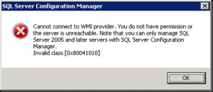 How to fix cannot connect to WMI provider in MS SQL