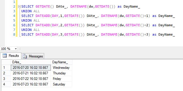 SQL Server 2017 Hosting :: Get Day of Week in SQL Server
